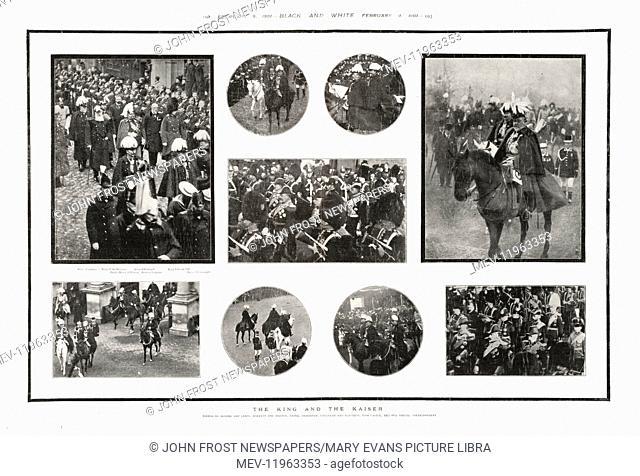 1901 Black & White King Edward VII & Kaiser Wilhelm at Queen Victoria's funeral