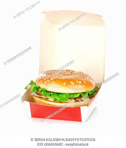 Hamburger in package isolated on a white background