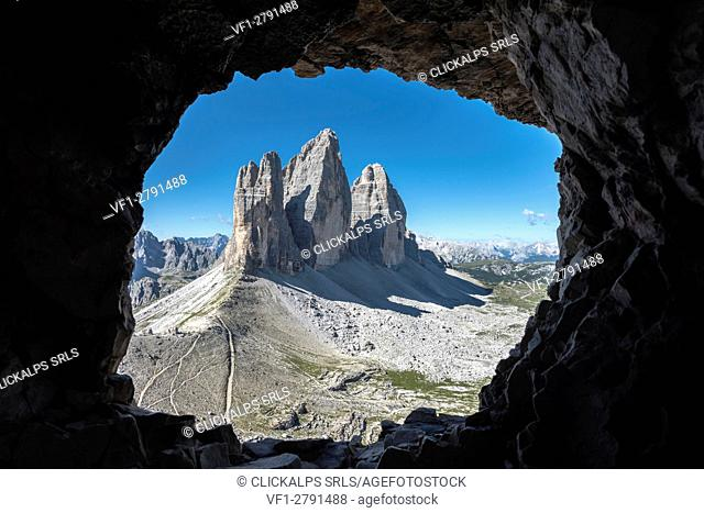 Sesto/Sexten, Dolomites, South Tyrol, province of Bolzano, Italy. The Tre Cime di Lavaredo/Drei Zinnen through a rock window from the First World War