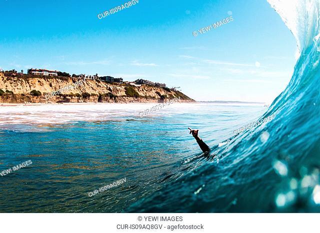 Hand of male surfer raised in sea, Encinitas, California, USA