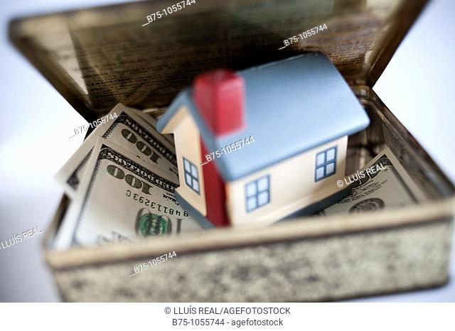House on dollar banknotes. Real Estate Concept