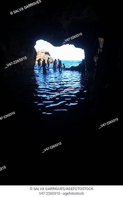 Interior of Cova Tallada, Les Rotes, Denia, Cape San Antonio, province of Alicante, Spain, Europe