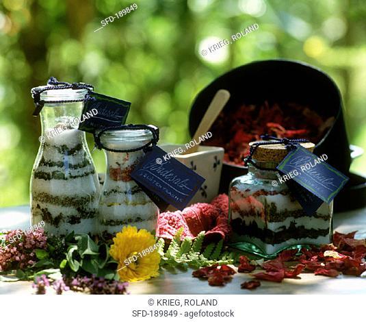 Home-made bath salts with aromatic herbs