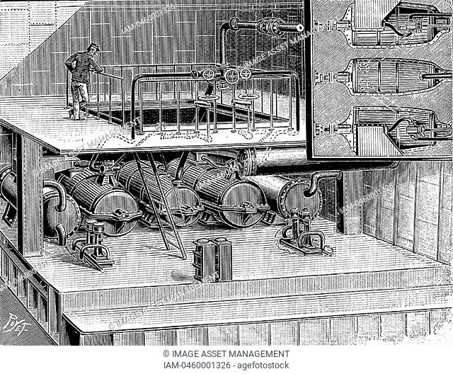 Steam turbines designed by Anglo-Irish engineer Sir Charles Parsons 1854-1931 fitted into the Dover packet boat 'Queen'  From 'La Nature' Paris 1904  Engraving