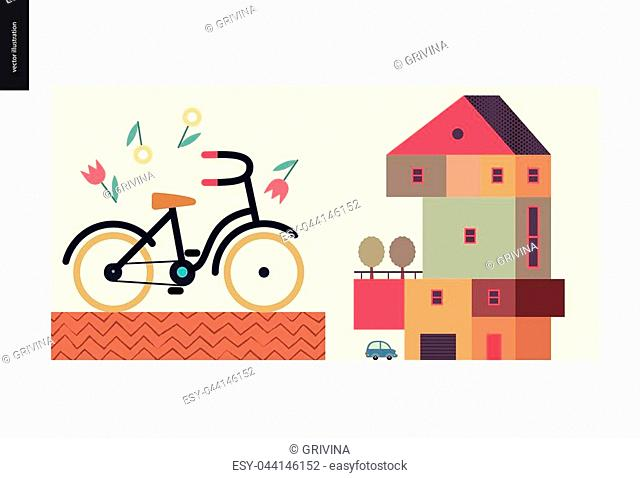 Simple things - color - flat cartoon vector illustration of four storey colorful countryside house, terrace, trees, car, garage