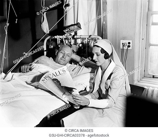 Nurse Reading to Male Patient in Hospital, Harris & Ewing, 1933