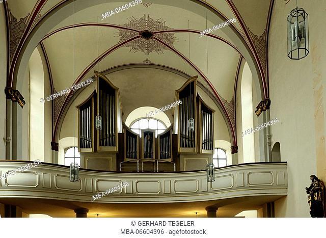 Organ on gallery in the Franziskaner Kloster (cloister), Paderborn, North Rhine-Westphalia, Germany