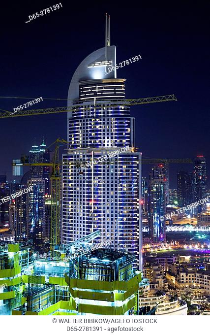 UAE, Dubai, Downtown Dubai, The Address Downtown Hotel, elevated view, dusk