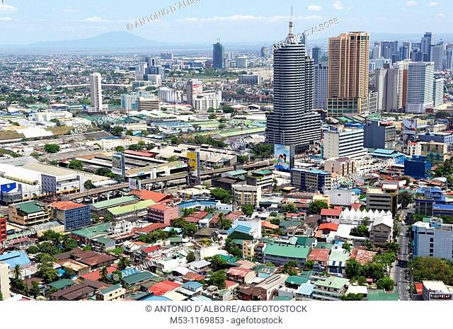 Aerial view of Metro Manila toward west seen taken from the top of a building site located in Mandaluyong City  Metro Manila  The Philippines