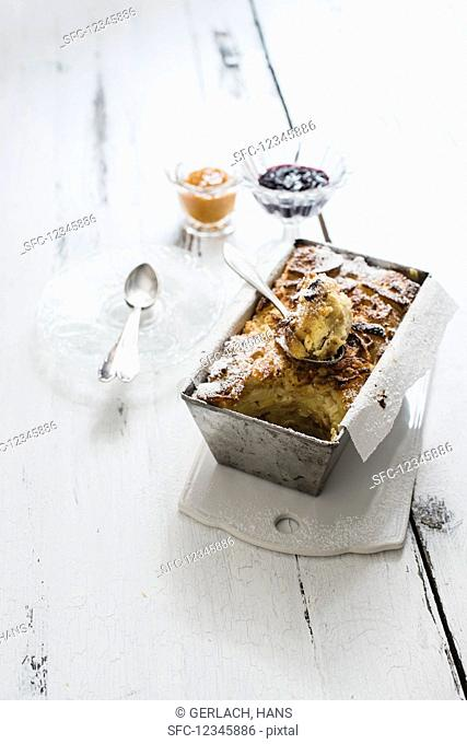 Kipfelkoch (croissant pudding, Austria) with dried apricots