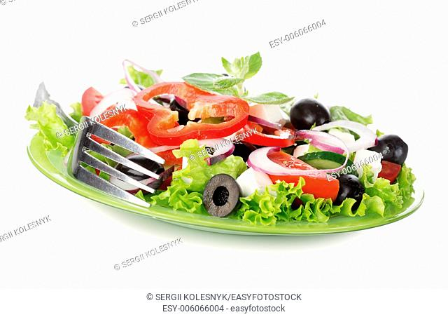 Vegetable salad isolated on a white background