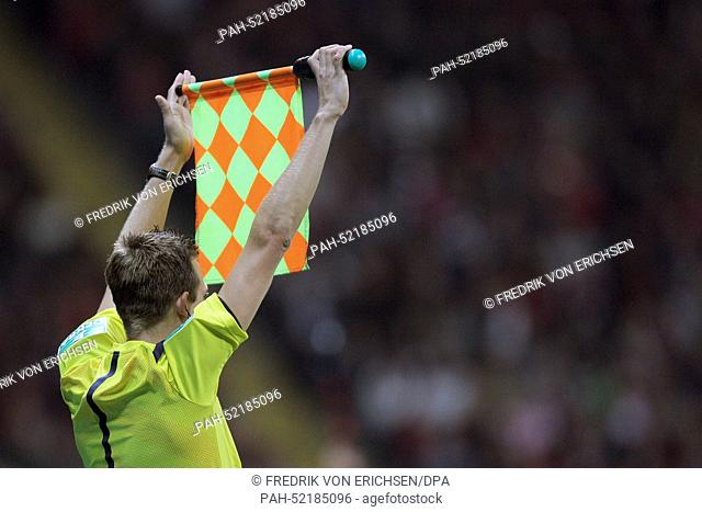Linesman Mark Borsch signals a subtitution during the Bundesliga soccer match between Eintracht Frankfurt and 1. FSV Mainz 05 at Commerzbank Arena in Frankfurt...