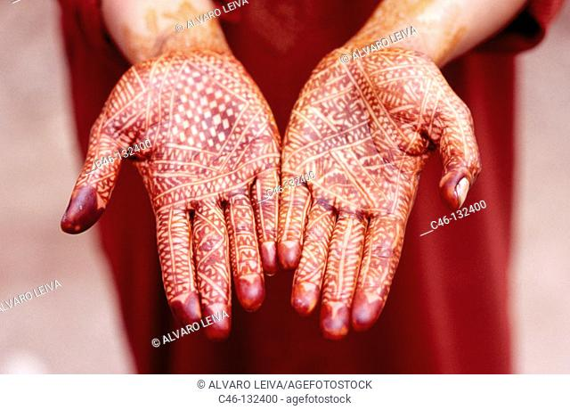 Hands painted with henna. Ouarzazate, valley of the Draa River, Morocco