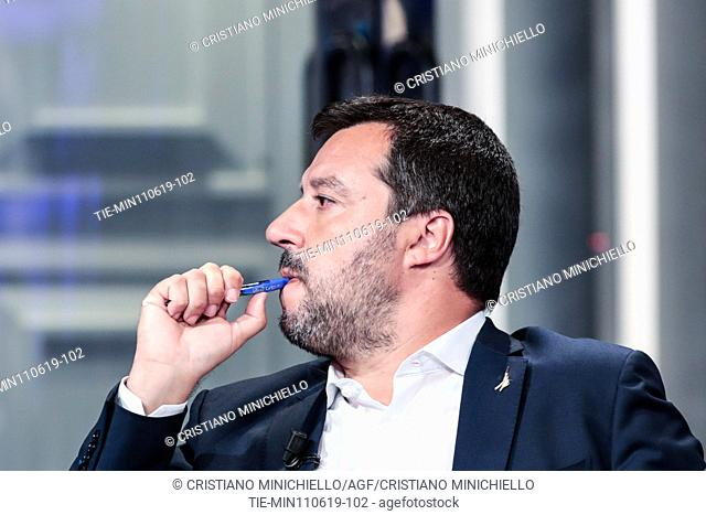 Italian Minister of Interior and Deputy Prime Minister Matteo Salvini attends at the tv show Porta a porta, Rome, ITALY-11-06-2019