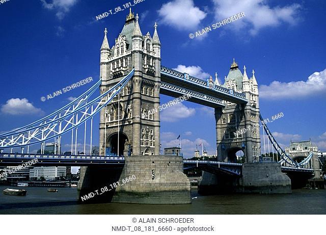 Low angle view of a bridge, Tower Bridge, London, England