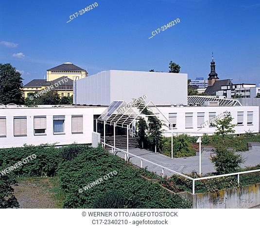 Germany. Saarbruecken, Saarbruecken-St. Johann, Saar, Saarland, Saarland State Theatre, Saar Music College and catholic basilica St. Johann
