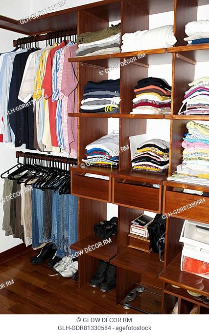 Neatly arranged clothes in drawers