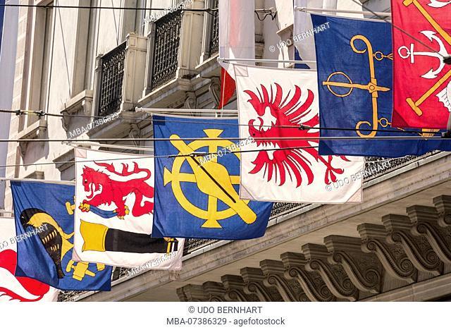 Flags in the Bahnhofstrasse, old town, Zurich, Canton of Zurich, Switzerland