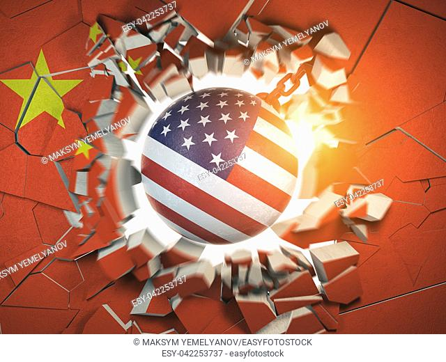 China and USA tariff war and trade problem concept. Demolition ball in colors of USA flag break a wall in colors of China flag. 3d illustration