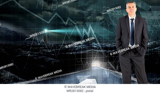 Digital composite image of confident businessman standing against futuristic screen with graphs and