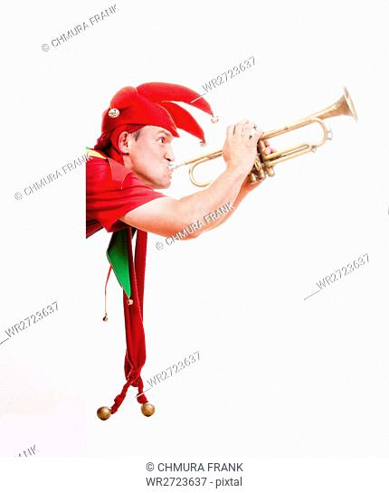 bell, cartoon, character, clothing, clown, colourful, comedian, comedy, costume, entertainment, expression, fool, fun, funny, hat, human, humour, instrument