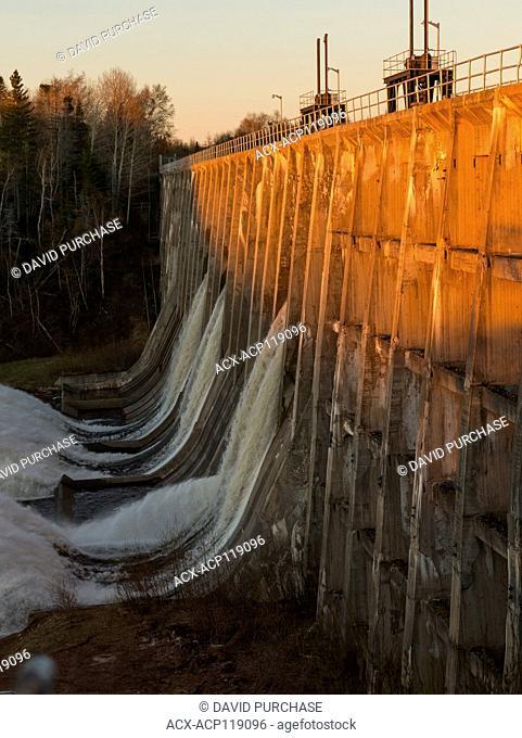 The Main Dam Spilling Water at Sunset, Deer Lake, Newfoundland and Labrador