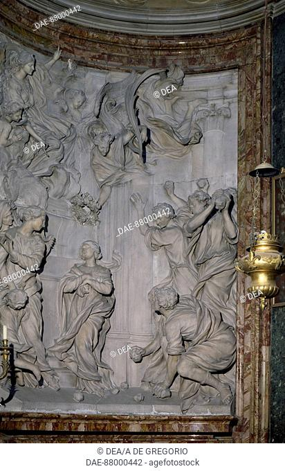 Martyrdom of Saint Emerenziana, marble relief, by Ercole Ferrata (1610-1686), Church of St Agnes in Agone, Rome. Italy, 17th century