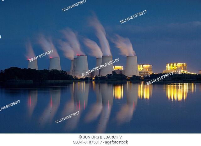 Jaenschwalde lignite-fired power station at night. Brandenburg, Germany