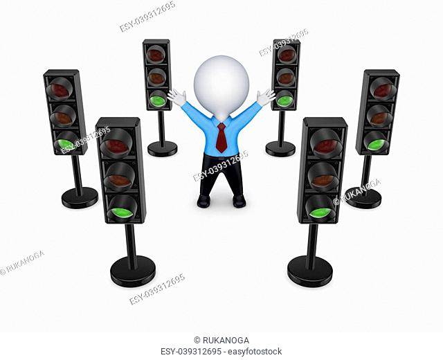 Traffic lights around 3d small person.Isolated on white background.3d rendered