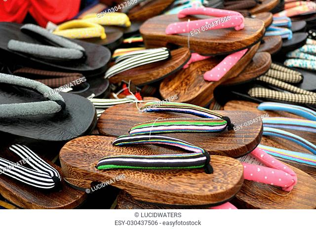 Japanese footwear ,Geta, for sale at the market