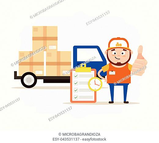 Happy smiling delivery man courier character showing ok sign. Vector flat cartoon illustration