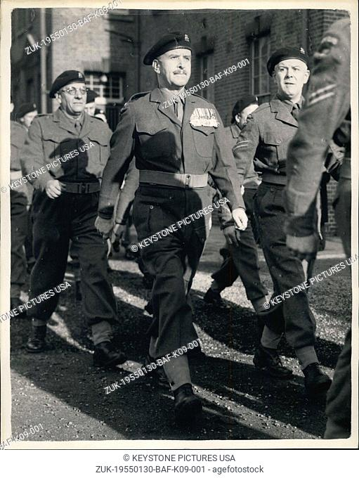 Jan. 30, 1955 - The Part-time army goes on Parade. Former Chief of Staff as a private: Men and women spare time soldiers of the Surrey Home Guard nearly 900...