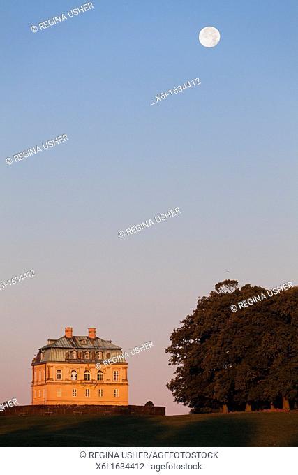 The Hermitage, at Dawn with Full Autumn Moon, Hunting Lodge in Royal Deer Park Klampenborg, Copenhagen, Sjaelland, Denmark