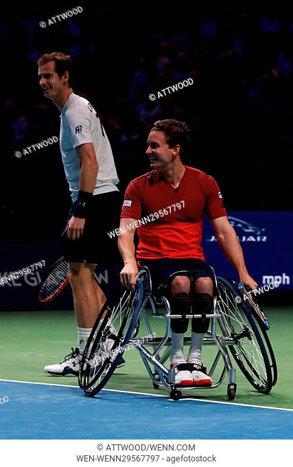 Andy Murray plays in the doubles match with his brother Jamie against Grigor Dimitrov and Tim Henman as they take part in Andy Murray Live at the SSE Hydro...
