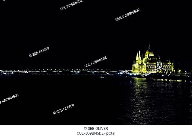 Hungarian Parliament Building by River Danube, Budapest, Hungary
