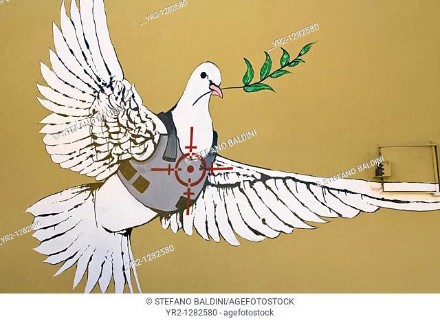 Banksy, Dove Bullet Proof, Bethlehem, Palestine