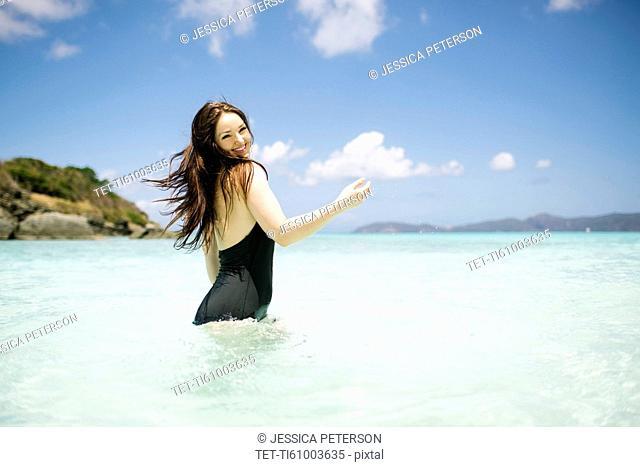 USA, Virgin Islands, Saint Thomas, Beautiful woman having fun on summer vacations