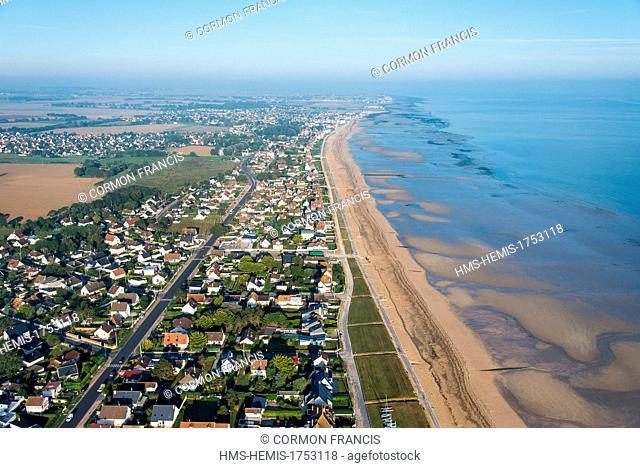 France, Calvados, Hermanville sur Mer, Sword Beach (aerial view)