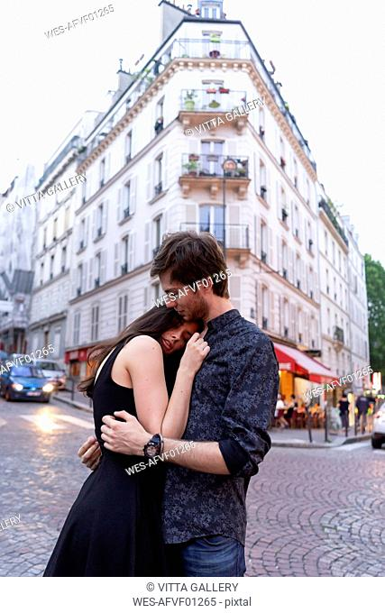 France, Paris, young couple in love in the district Montmartre