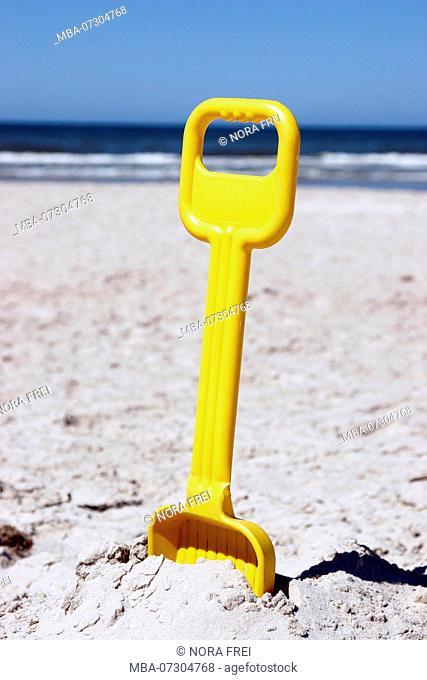 Denmark, North Sea, shovel, sand toys