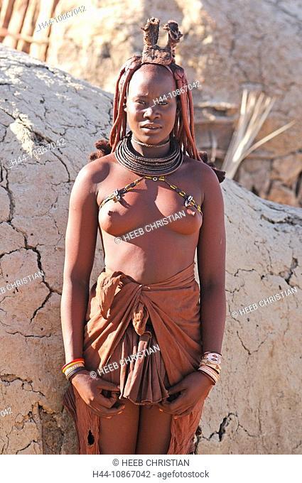 Himba, woman, Himba, village, Purros, Kaokoland, Kunene Region, Namibia, Africa, Travel, Nature