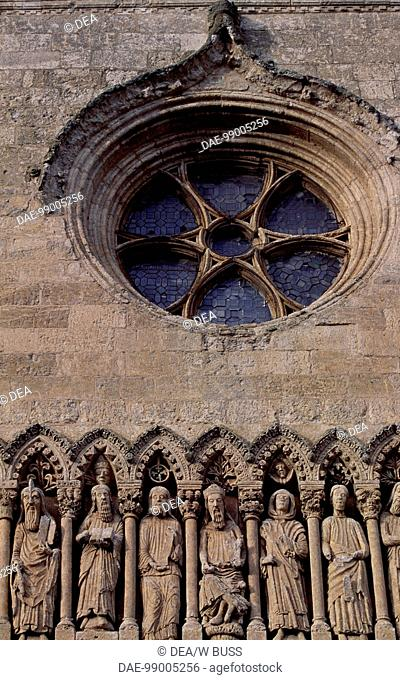 Frieze with Old Testament characters and rose window, detail from the facade of the Cathedral of Santa Maria, Ciudad Rodrigo, Castile and Leon
