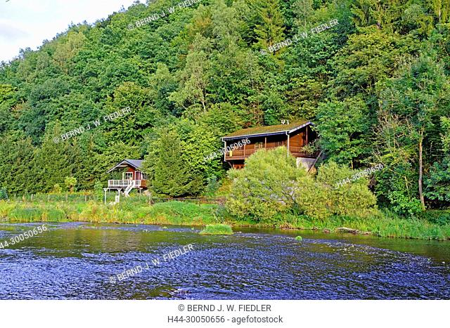 River, Ourthe, houses, wood, Maboge Belgium