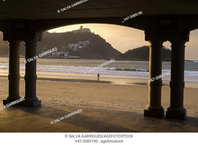 Sunset on the Beach of the Concha de San Sebastian, Donosti, Basque Country