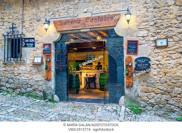 Facade of traditional sidreria. Santillana del Mar, Cantabria, Spain