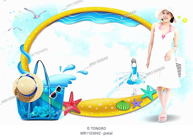 a girl with beach ware