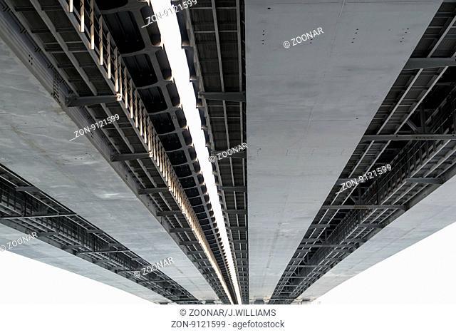 Closeup detail of a metal road bridge