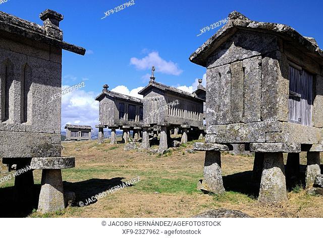 Espigueiros(traditional granary)Lindoso.Peneda-Gerês National Park.Minho region.Portugal