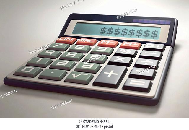 Calculator with dollar symbols, illustration