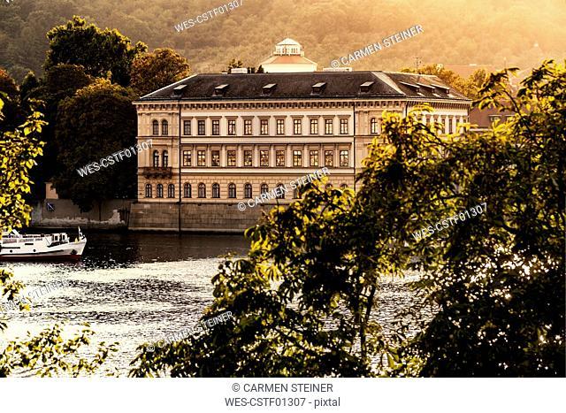 Czechia, Prague, view to Liechtenstein Palace with Vltava in the foreground
